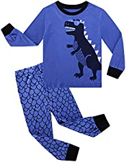 AmzBarley Little Boy Pajamas Long Sleeve Set Cotton Cartoon Print Sleepwear Clothes Unisex Nightgown