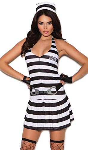 ESSA OAT clothes series Convict Cutie Costume Prisoner Robber Striped Dress Handcuff Belt -