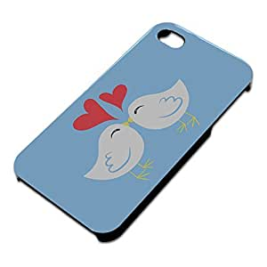 Sweet Kissing Birds in Love Blue Slim Fit Hard Case Fits Apple iPhone 4 4S