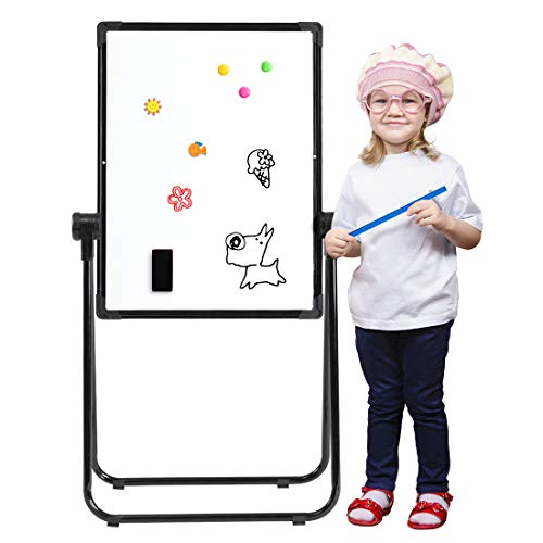 18'' Magnetic U-Stand Whiteboard/Kids Flipchart Easel, Double Sides Whiteboard & Chalkboard Standing White Board, Height Adjustable & 360°Rotating with Complete Set ()