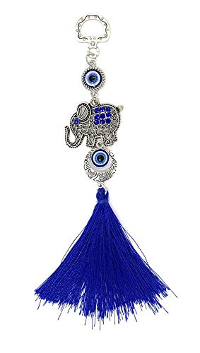 Bravo Team Lucky Blue Evil Eye Hanging Elephant for Protection and Blessing, Pendant Decoration for Car, Home and Office, with Rhinestone Crystals for Good Luck and Blessing, Great Gift