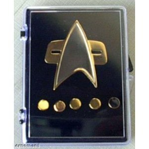 Voyager Star Trek Communicator Badge + Rank Pin Set 6 Piece Metal -