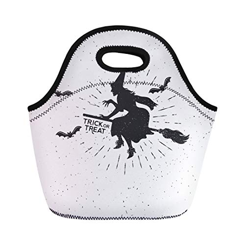 Semtomn Neoprene Lunch Tote Bag Autumn Witch Vintage Halloween Badge Bat Black Broom Drawing Reusable Cooler Bags Insulated Thermal Picnic Handbag for -