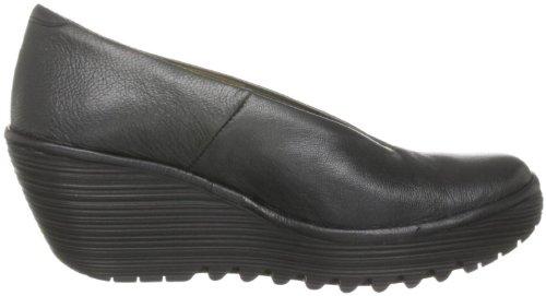 nbsp;Cuero Mujeres Yaz Botas London Fly Wedge Zapatos Negro ZqgxSwPnO