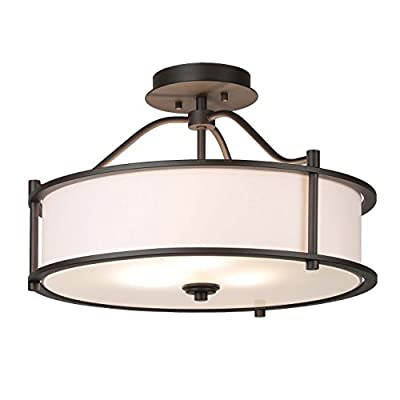 XiNBEi Lighting Semi Flush Mount Ceiling Light 18 Inch 3 Light Close to Ceiling Light with Fabric Shade and Frost Glass Diffuser Drum Semi Flush Light