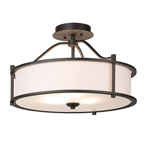 Semi Flush Mount Ceiling Light 18 Inch 3 Light Close to Ceiling Light with Fabric Shade and Frost Glass Diffuser in Dark Bronze Drum Semi Flush Light XiNBEi-Lighting XB-SF1199-DB