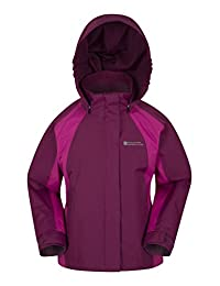 Mountain Warehouse Shelly Kids Waterproof Jacket - Waterproof, Fully Taped Seams & Tricot Lining with Adjustable Cuffs - Ideal for rainy season to keep child dry Berry 7-8 years