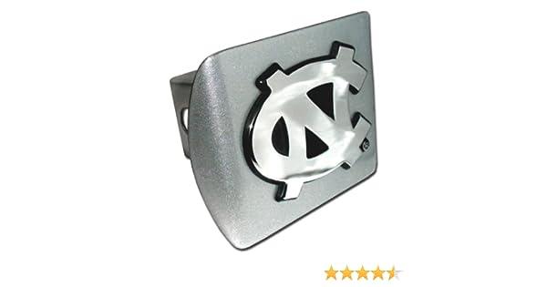 North Carolina Tarheels Brushed Metal Trailer Hitch Cover with NCAA Chrome Metal Logo Elektroplate UNC-BRU-HC