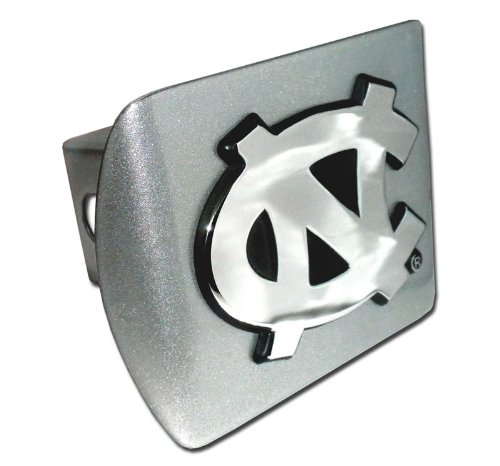 North Carolina Tarheels Brushed Metal Trailer Hitch Cover with NCAA Chrome Metal Logo ()