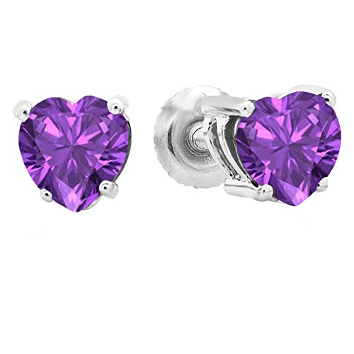 (Dazzlingrock Collection 14K 5 MM Heart Shape Natural Amethyst Ladies Stud Earrings, White Gold)