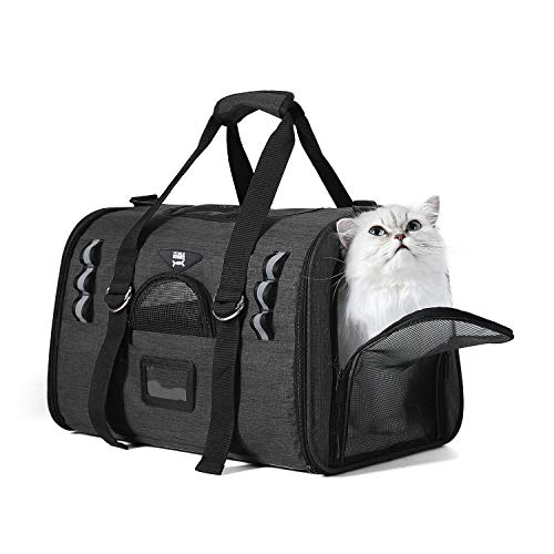 NOBLE DUCK Soft Sided Cat Carriers for Medium Cats Sturdy Pet Carrier with 2 Fleece Pads for Small Dogs -