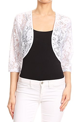 Misha Women's Sheer Lace Shrug Cardigan Bolero. Made in USA. (S~3XL) (2X, White-FL) by Misha