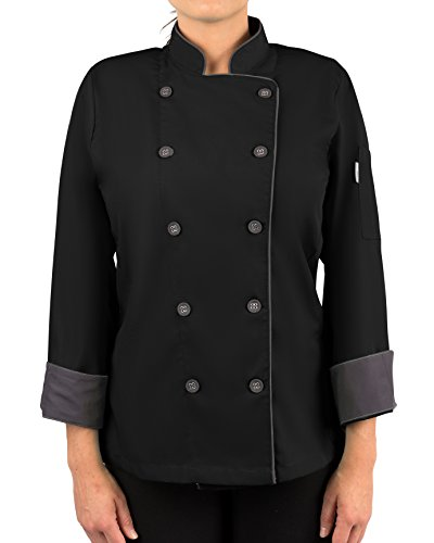 KNG Womens Long Sleeve Active Chef Coat, Black with Slate Accent, XL by KNG