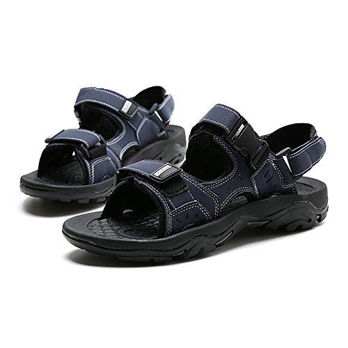 Slip Azul Cuero Zapatillas Casual 5 Joker Para cn43 Mazhong Eu42 Tamaño Negro Verano Color Sandalias uk8 Hombres De TwwqAzY