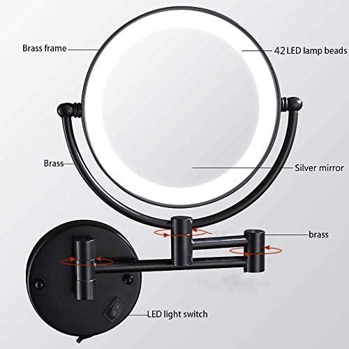 8インチ5倍の倍率でLEDライトアップハードワイヤードウォールマウント化粧鏡、360°のスイベル拡張可能な、ナチュラルホワイトLEDライト、USBアダプター、ブラック