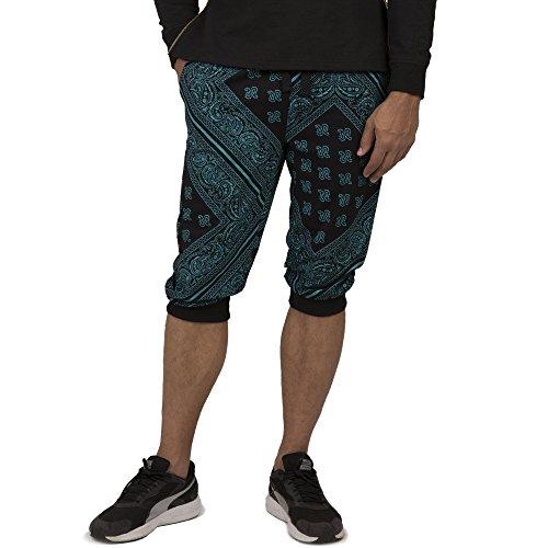"""Vibes Men's Black Jersey 18"""" Jogger Capri Shorts Paisley Bandana Print Rib Cuff Size XL Turquoise"""
