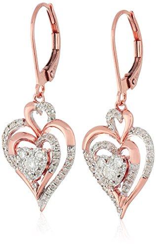 Gold Diamond Cluster Earrings - 10K Rose Gold Cluster Heart Diamond Earrings (1/2cttw, I-J Color, I2-I3 Clarity)