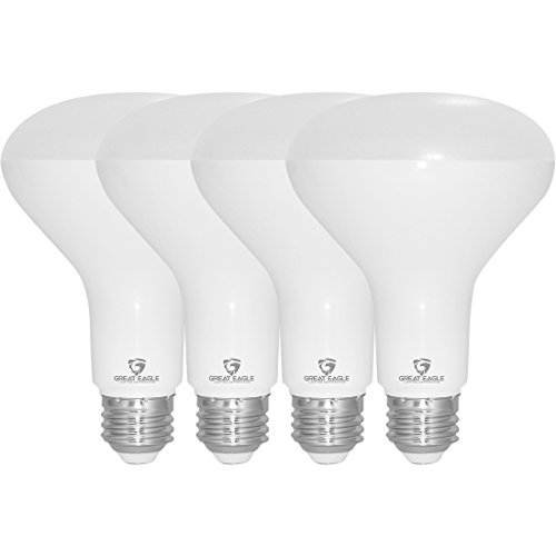 Great Eagle R30 or BR30 LED Bulb, 12W (100W Equivalent), 1250 Lumens, Brighter Upgrade for 65W Bulb, 3000K Bright White Color, for Recessed Can Use, Wide Flood, Dimmable, and UL Listed (Pack of 4)