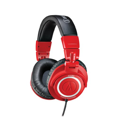 Audio-Technica ATHM50RD Professional Studio Monitor Headphones, Red