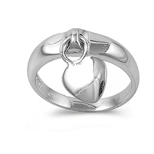 925 Sterling Silver Promise Ring Plain dangling heart charm Ring (Charm Heart Ring Dangling)