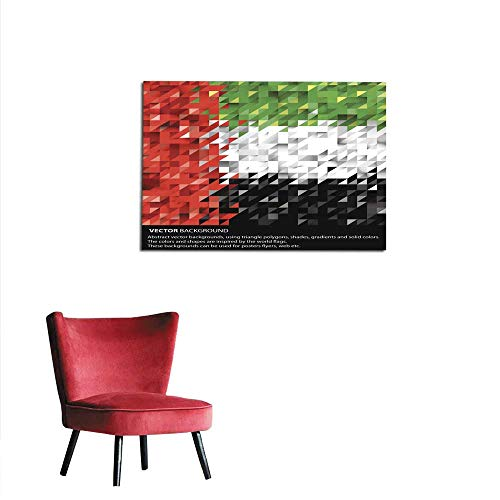 """Price comparison product image homehot Art Stickers Abstract UAE Background United Arab Emirates Flag Vector Art Mural 24""""x20"""""""