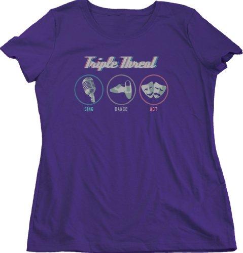 TRIPLE THREAT: SING, DANCE, ACT Ladies Cut T-shirt / Drama Theatre Actor Tee