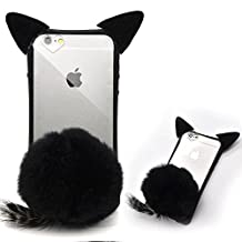 "iPhone 6S Cute Case, iPhone 6 Cat Case, Bonice New Attractive 3D Cute Cat Ear Fluffy Plush Warm Hair Ball Tail Bumper Ultra Thin Slim Protective Cover Case for Apple iphone 6/6S 4.7"" - Black"