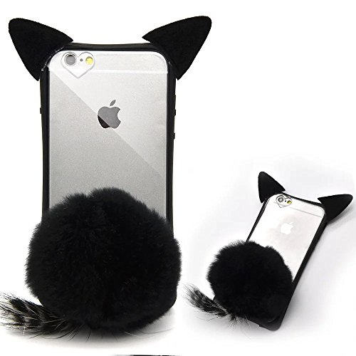 iPhone 5S Cat Case, iPhone 5 SE Case, Bonice Cartoon 3D Cat Shaped Ear Fluffy Plush Fur Soft TPU Case with Soft Tail Cover for Apple iphone 5 5S SE - Black