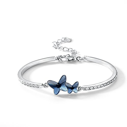 (T400 Blue Purple Pink Butterfly Bangle Bracelet Made with Swarovski Elements Crystal❤️ Birthday Gift for Women Girls)