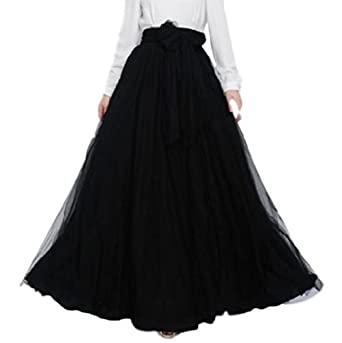 47dbae17e9 Lapiness Women's Long Tutu Tulle Skirt Full/Ankle Length A Line Maxi Skirt  Wedding Party (Black, Free Size): Amazon.co.uk: Clothing