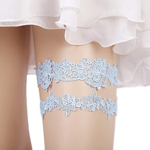 Lace Garter Set Wedding Garter Belt Flower Floral Design Garter for Bride Light Blue