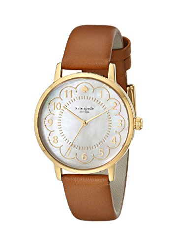 kate spade new york Women's 1YRU0835 Metro Gold-Tone Watch with Brown Leather Band by Kate Spade New York