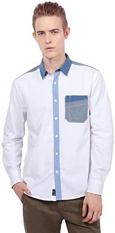 メンズ カジュアルシャツ パッチワーク ポプリン スプライス 長袖 ワイシャツ ビジネス RF-1