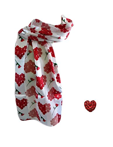(Bundle - 2 Items: Valentine's Day Hearts Roses Scarf and Pin Brooch Gift Set)