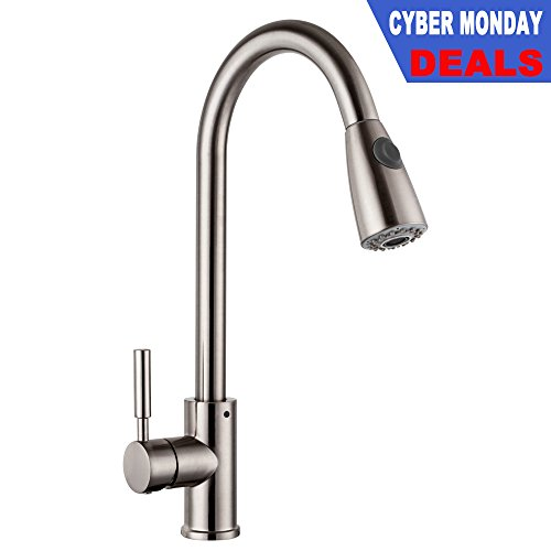 LORDEAR Commercial Brushed Nickel Stainless Steel Swivel Spout Single Hole Pull Out Spray Single Handle Kitchen Faucet, Pull Down Mixer Kitchen Sink Faucet