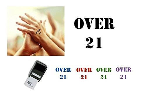 OVER 21 Hand Stamp - suitable for Festivals, Parties, Clubs, Special Events, Bars etc. (Black) (Hand Custom Stamp)
