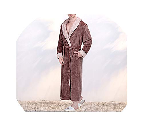 New Women Thermal Luxury Flannel Extra Long Winter Sexy Fur Bathrobe Warm Bridesmaid Robes,Men Coffee,XL