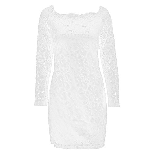 2Colors Bodycon 4Sizes Dress Off Hollowed Knee Dress Long Shoulder Off White Shoulder Length Sleeve Lace qwax8EwOt