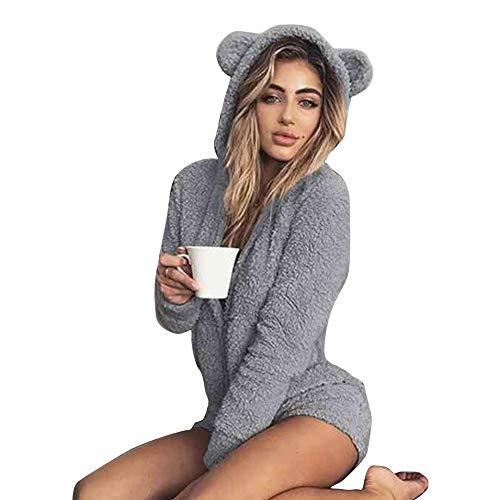 Okvpajdo Women Sherpa Fleece Pajama Suit Hooded Cute Bear Ears Long Sleeve Zipper Short Jumpsuit Sleepwear Romper Gray -