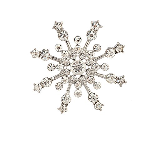 Lux Accessories Pave Crystal Snowflake Winter Christmas Xmas Brooch Pin.