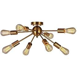 8-Light Sputnik Chandelier Brushed Brass Semi Flush Mount Ceiling Light Modern Pendant Light for Kitchen Bathroom Dining Room Bed Room Hallway by VINLUZ