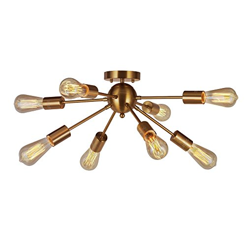 8 Light Brass Sputnik Semi Flush Mount Ceiling Light VINLUZ Modern Pendant Light Kitchen Chandelier Lighting For Dining Room Bed Room (Brass Ceiling Flush Mount)