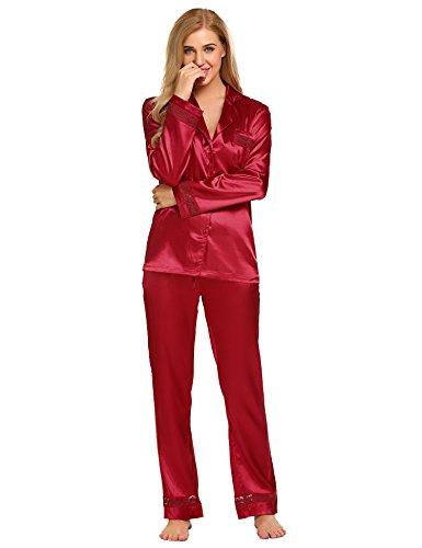 HOTOUCH Womens Satin Pajamas, Long Button-Down Pj Set Red M