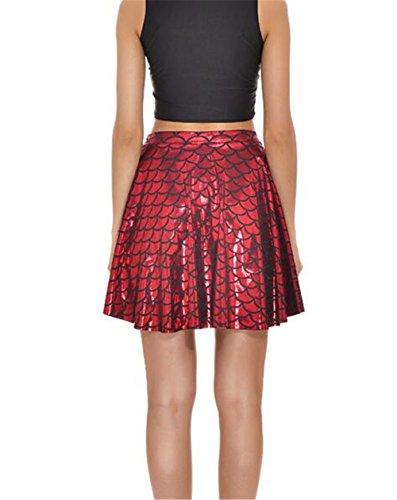 Simpatiche Pieghe Donna Semplice Squame Stampate Red Pesce Fashion Skirt Summer Gonne Midi Di Gogofuture Sexy xwfzIdq0q