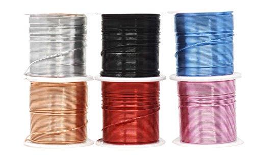 Mandala Crafts Anodized Aluminum Wire for Sculpting, Armature, Jewelry Making, Gem Metal Wrap, Garden, Colored and Soft, Assorted 6 Rolls (20 Gauge, Combo 8) ()