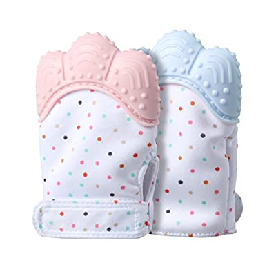 Baby Teething Mitten, FIREOR Self-Soothing Teether Glove Anti-Scratch Mitt & BPA Free Teething Pain Relief Toy for 3–18 Month Infants (2 Pack, Blue&Pink) by HY that we recomend individually.