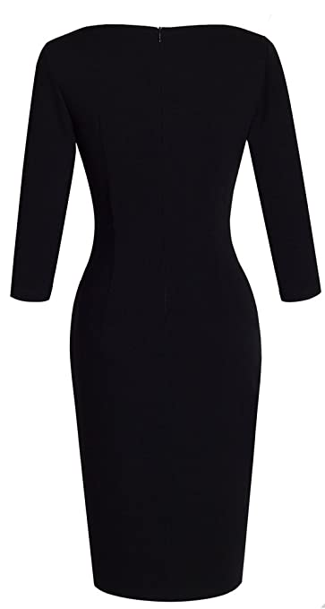 HOMEYEE Womens Elegant V-Neck Big Button Hem Split Slim Bodycon Casual Vintage Dress B335: Amazon.co.uk: Clothing