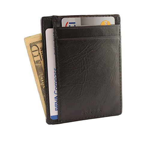 Andar RFID Minimalist Front Pocket Wallet - Made of Classy Full Grain Leather (Black) by Andar (Image #2)