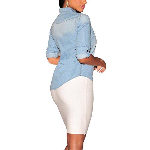 0d0fad3594a 85%OFF Daxin Womens Fitted Long Sleeve Jean Denim Coat Shirt Blouse Lapel  Tops
