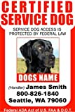 PERSONALIZE Dean & Tyler CERTIFIED SERVICE DOG ID Badge - 1 Dog's Custom ID Badge - Design#3- Vertical.